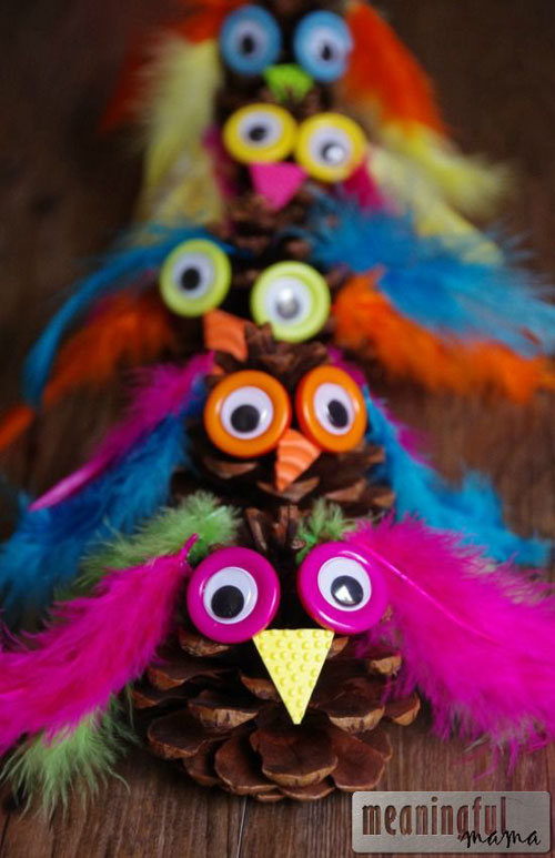 Fall Crafts for Kids - Owl Pinecone Craft
