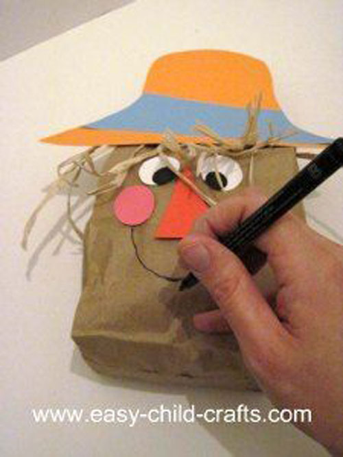 Fall Crafts for Kids - Paper Bag Scarecrow