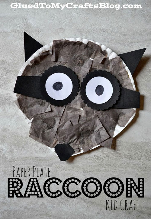 Fall Crafts for Kids - Paper Plate Raccoon