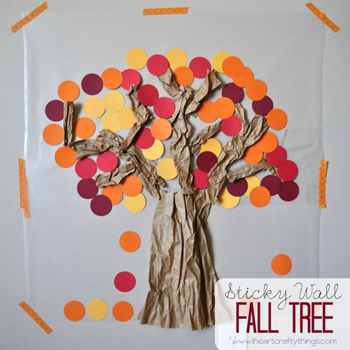 Fall Crafts for Kids - Paper Sticky Wall Fall Tree
