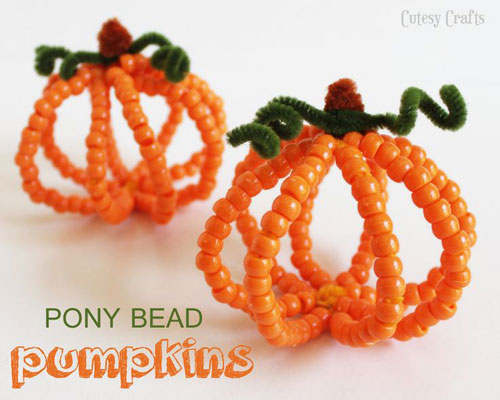 Fall Crafts for Kids - Pony Bead Pumpkins