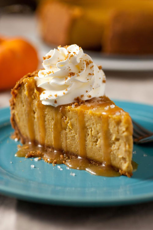 50+ Best Pumpkin Recipes - Pumpkin Cheesecake with Salted Caramel Sauce