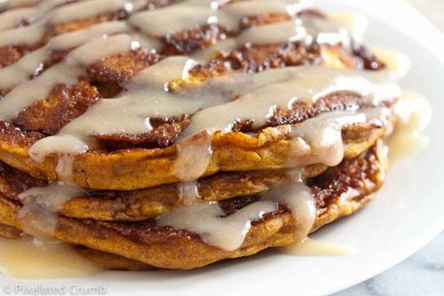 50+ Best Pumpkin Recipes - Pumpkin Cinnamon Roll Pancakes
