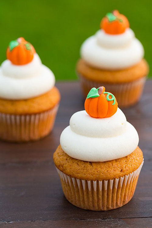 Halloween Party Ideas for Adults - Pumpkin Cupcakes with Cream Cheese Frosting