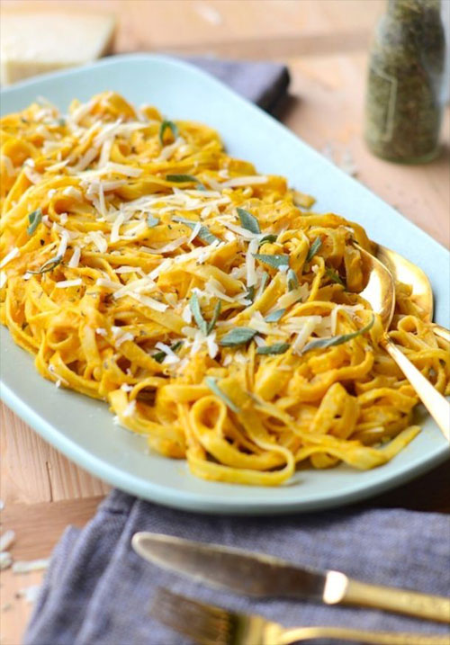 50+ Best Pumpkin Recipes - Pumpkin Fettuccine with Sage