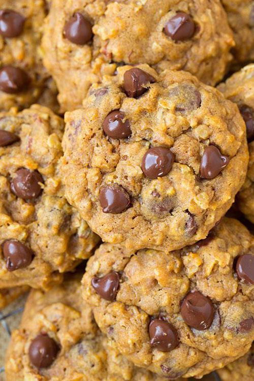 50+ Best Pumpkin Recipes - Pumpkin Oat Chocolate Chip Cookies