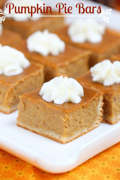 50+ Best Pumpkin Recipes - Pumpkin Pie Bars