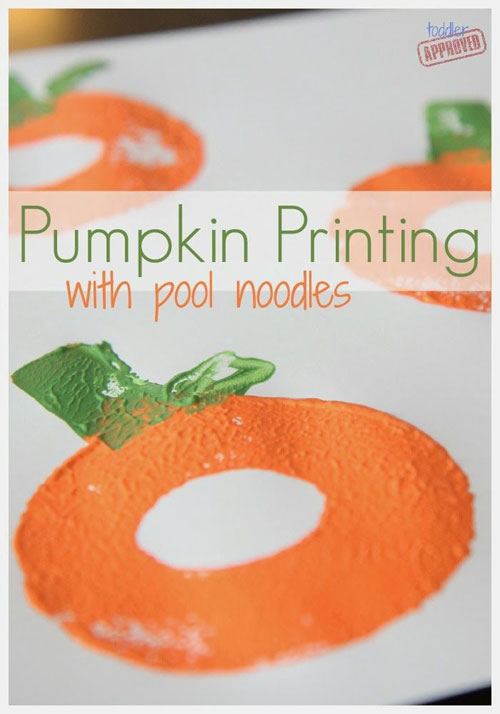 Fall Crafts for Kids - Pumpkin Printing with Pool Noodles