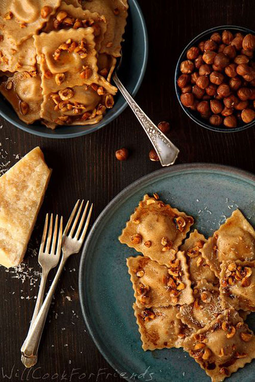 50+ Best Pumpkin Recipes - Pumpkin Ravioli with Hazelnut Brown Butter Sauce and Balsamic Drizzle