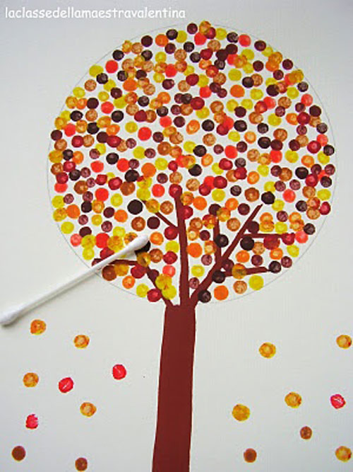 Fall Crafts for Kids - Q-tip Painting