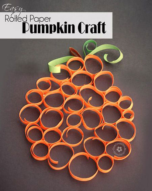 Fall Crafts for Kids - Rolled Paper Pumpkin Craft