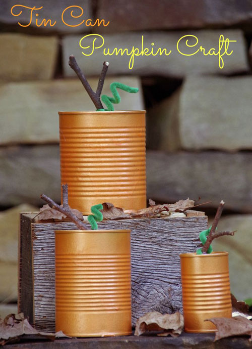 Fall Crafts for Kids - Tin Can Pumpkins