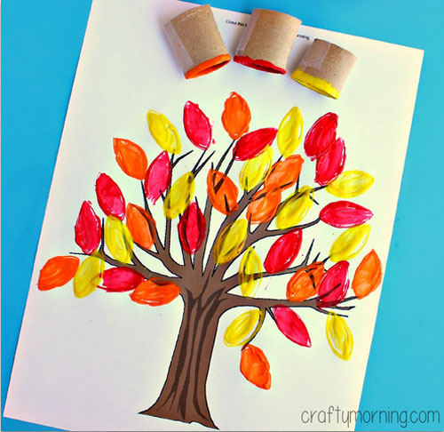 Fall Crafts for Kids - Toilet Paper Roll Leaf Stamping