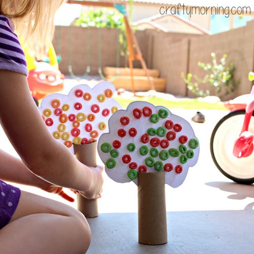Fall Crafts for Kids - Toilet Paper Roll Tree Craft Using Fruit Loops
