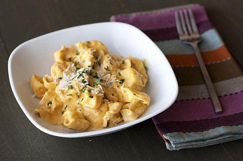 50+ Best Pumpkin Recipes - Tortellini with Pumpkin Alfredo Sauce
