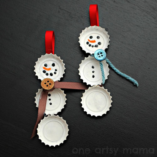 38 Handmade Christmas Ornaments - Bottle Cap Snowman Ornaments