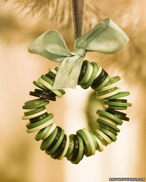 38 Handmade Christmas Ornaments - Button Wreath Ornament