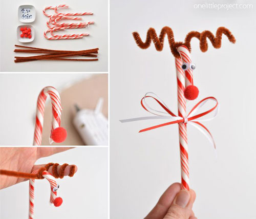 36 Easy Christmas Crafts - Candy Cane Reindeer
