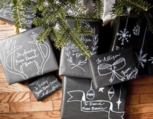 24 Clever Christmas Wrapping Hacks - Chalkboard Wrapping Paper