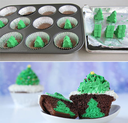 30+ Easy Christmas Cupcake Ideas - Cheesecake Stuffed Christmas Tree Cupcakes