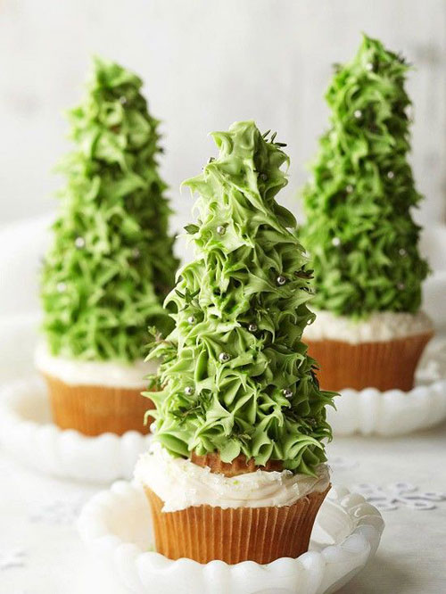 30+ Easy Christmas Cupcake Ideas - Christmas Tree Cupcakes