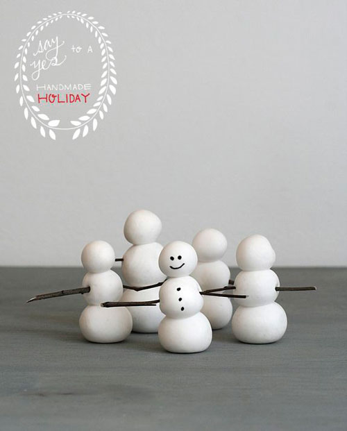 36 Easy Christmas Crafts - Clay Snowmen