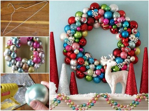 36 Easy Christmas Crafts - Colourful Bauble Wreath