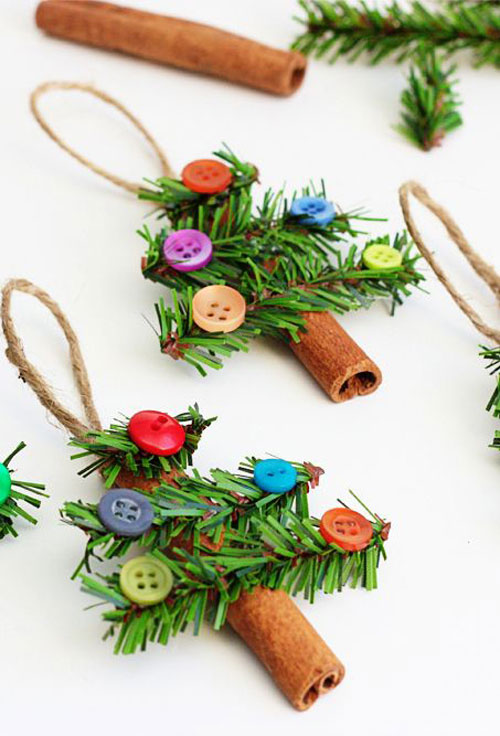 38 Handmade Christmas Ornaments - DIY Cinnamon Stick Christmas Tree Ornaments