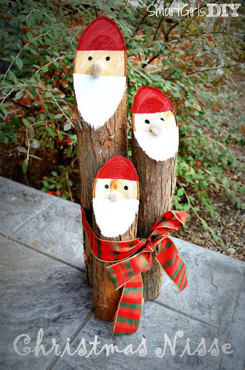 36 Easy Christmas Crafts - DIY Log Santa