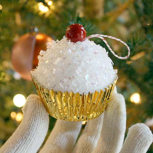 38 Handmade Christmas Ornaments - DIY Styrofoam Ball Cupcakes