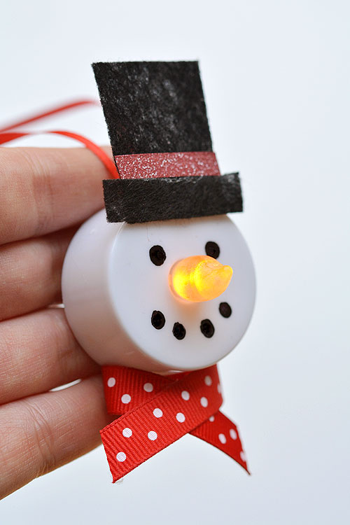 40+ Easy Christmas Crafts for Kids - Tealight Snowman Ornaments