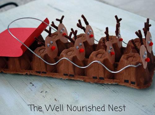 36 Easy Christmas Crafts - Egg Carton Reindeer