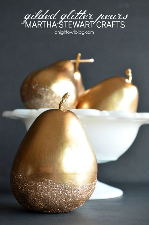 36 Easy Christmas Crafts - Gilded Glitter Pears