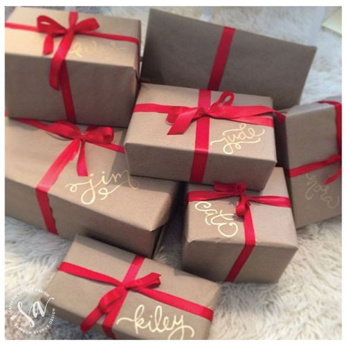 24 Clever Christmas Wrapping Hacks - Gold Sharpie Gift Tags