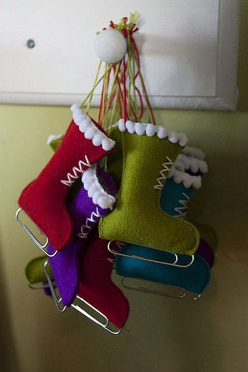 38 handmade christmas ornaments handmade felt skiing boots ornament - Handmade Felt Christmas Decorations