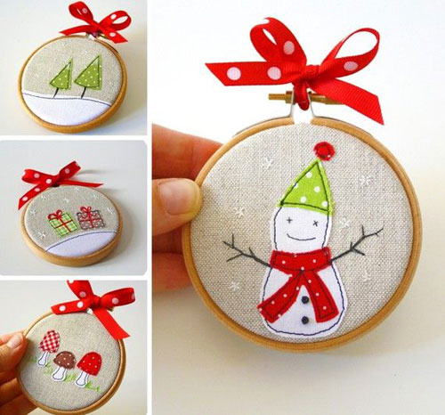 38 Handmade Christmas Ornaments - Handmade Stitched Ornaments