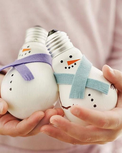36 Easy Christmas Crafts - Light Bulb Snowmen