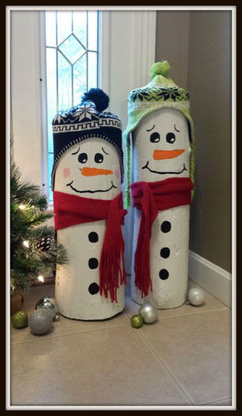 36 Easy Christmas Crafts - Log Snowmen