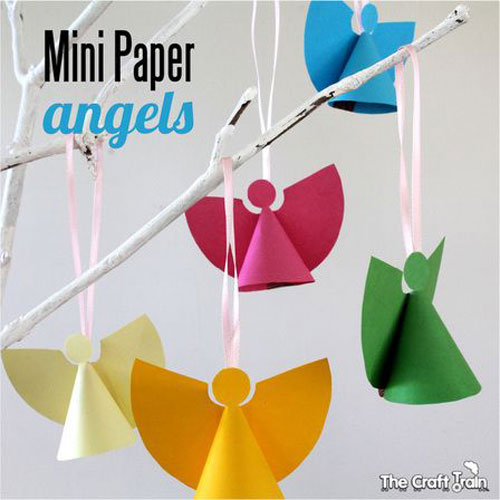 38 handmade christmas ornaments mini paper angels - Handmade Paper Christmas Decorations