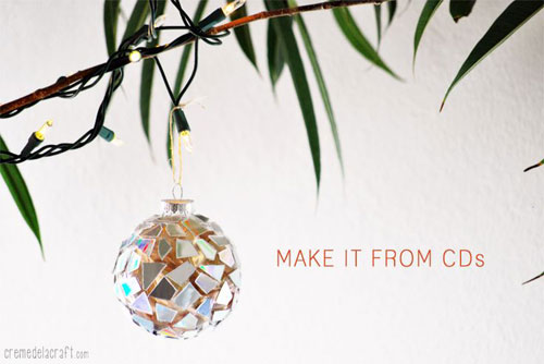 38 Handmade Christmas Ornaments - Mosaic Ornaments from CDs