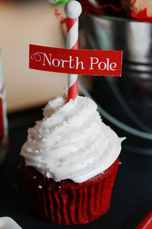 30+ Easy Christmas Cupcake Ideas - North Pole Red Velvet Cupcakes