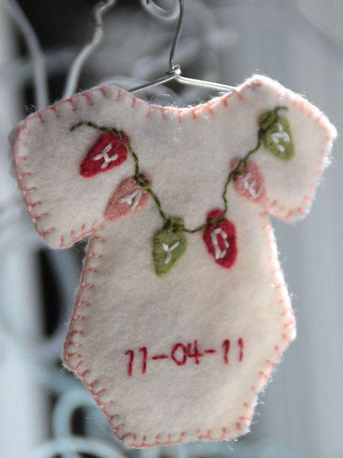Baby Christmas Ornaments Part - 49: 38 Handmade Christmas Ornaments - Onesie Ornament