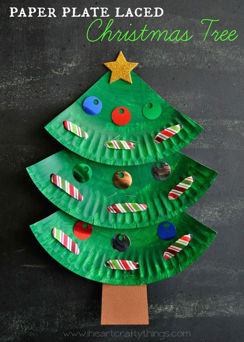 36 Easy Christmas Crafts - Paper Plate Laced Christmas Tree