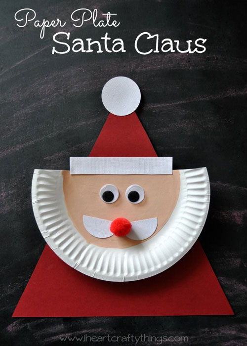 36 Easy Christmas Crafts - Paper Plate Santa Claus