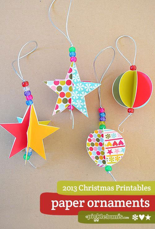 38 Handmade Christmas Ornaments - Paper Printable Ornaments