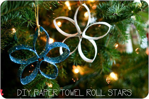 38 Handmade Christmas Ornaments - Paper Towel Roll Stars
