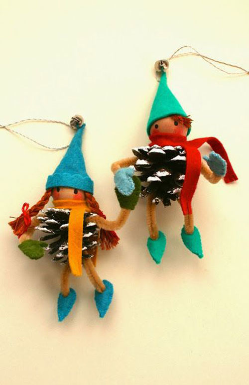 38 Handmade Christmas Ornaments - Pinecone Elves