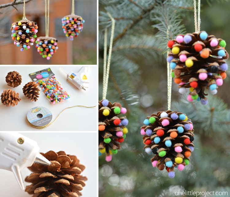 these pom pom and pinecone ornaments are so easy theyre a great craft - Homemade Pine Cone Christmas Decorations
