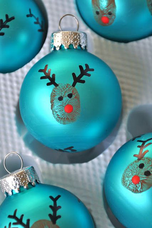 38 handmade christmas ornaments reindeer thumbprint ornaments - Teal Christmas Ornaments