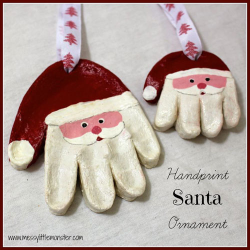 38 Handmade Christmas Ornaments - Santa Handprint Ornament using Salt Dough